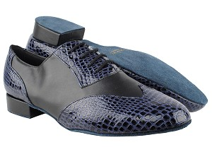 "M100101 243 Purple Blue Crocodile PU_F_B_Black Leather_M with 1"" standard heel in the photo"