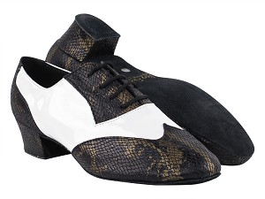 "M100101 85 Black Snake_White Patent_M with 1.5"" Latin Heel in the photo"