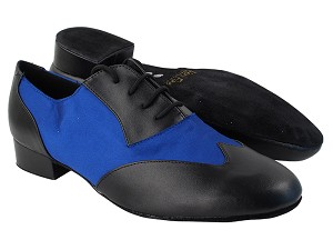 "M100101 Black Leather_247 Blue Satin with 1"" Standard Heel in the photo"