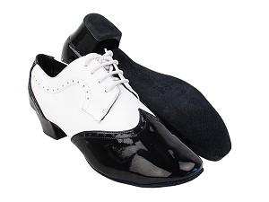 "PP302 Black Patent_F_B_White Leather_M with 1.5"" Latin Heel in the photo"