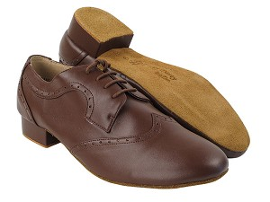 "PP302 Dark Tan Leather with 1"" Standard Heel in the photo"