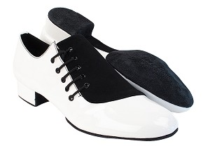 "S2519 White Patent_73 Black Nubuck with 1"" Standard Heel in the photo"