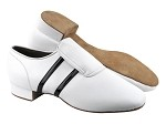 S410 White Leather_Black Patent Trim