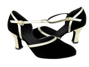 "C9621 Black Nubuck & Gold Trim with 2.5"" heel in the photo"