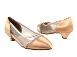 CD5502 Tan Satin Cuban Heel