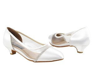 "CD5502 White Satin with 1.1"" heel in the photo"