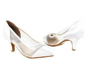"CD5502 White Satin  with 2.5"" Slim heel in the photo"