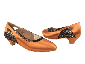 "CD5505 Dark Tan Satin with 1.1"" heel in the photo"