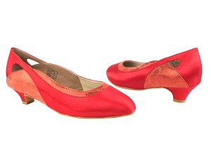 "CD5505 Red Satin with 1.1"" heel in the photo"