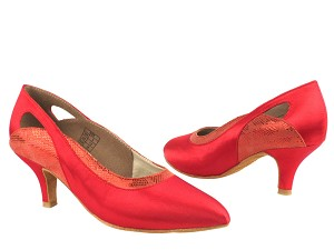 "CD5505 Red Satin  with 2.5"" Slim heel in the photo"