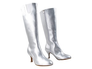 "VFBoot PP205 Silver Leather with 2.75"" Flare Heel & Elastic Calf in the photo"