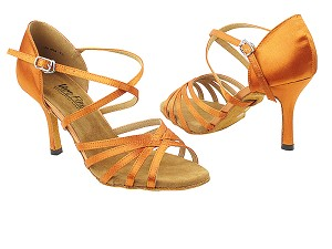 "1613LEDSS Dark Tan Satin with 3"" slim heel in the photo"