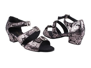 "1679LEDSS Black Flower with 1.5"" Medium Heel in the photo"