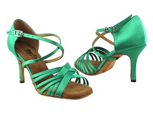 "2784LEDSS Green Satin with 3"" slim heel in the photo"
