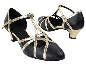 "SERA3541 Black Leather & Light Gold Trim with (5028) 1.2"" Cuban Heel in the photo"