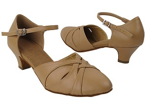 "SERA3542 Beige Brown Leather with (5028) 1.2"" Cuban Heel in the photo"