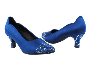 "SERA5501 Blue Satin with 2.5"" low heel in the photo"