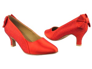"SERA5512 Red Satin with 2.5"" low heel in the photo"