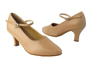 "SERA5522 Beige Brown Leather with 2.5"" low heel in the photo"