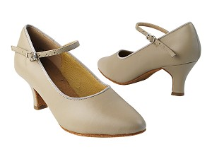 "SERA5522 Beige Leather with 2.5"" low heel in the photo"
