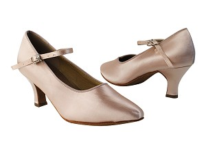 "SERA5522 Flesh Satin with 2.5"" low heel in the photo"