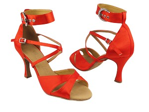 "SERA7002 Red Satin with 3"" heel in the photo"