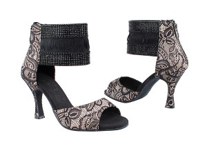 "SERA7003ESS Flesh & Black Lace with 3"" heel in the photo"