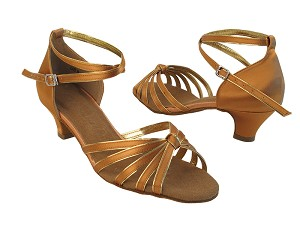SERA7043 Tan Satin_Gold Trim_Cuban Heel