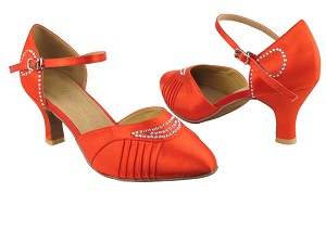 "SERA1397 Red Satin with 2.5"" low heel in the photo"
