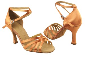 "SERA2613 Tan Satin with 3"" heel in the photo"