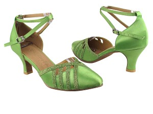 "SERA3530 Green Satin & Green Stardust Trim with 2.5"" low heel in the photo"