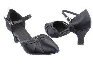 "SERA3540 Black Satin with 2.5"" low heel in the photo"