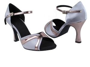 "SERA3710 Grey Satin & Pewter Trim with 3"" heel in the photo"