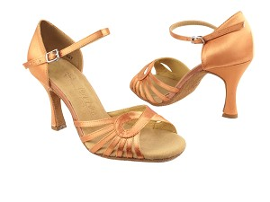 "SERA3870 Tan Satin with 3"" heel in the photo"
