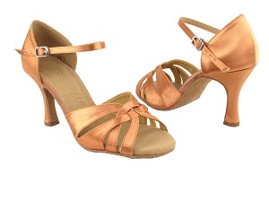"SERA6721 Tan Satin with 3"" heel in the photo"
